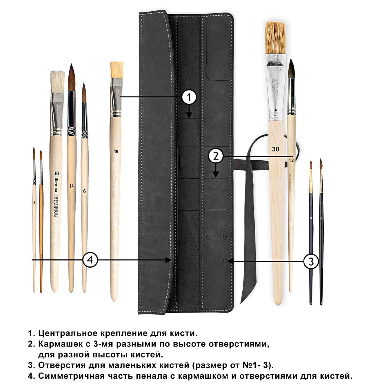 Пенал для кистей Artskill Brush mini коричневый